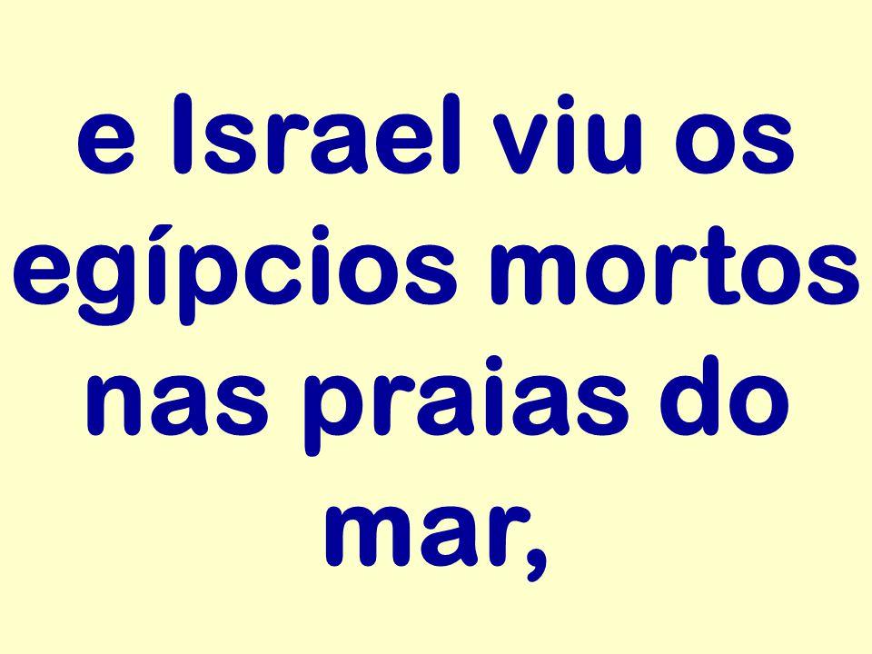 e Israel viu os egípcios mortos nas praias do mar,