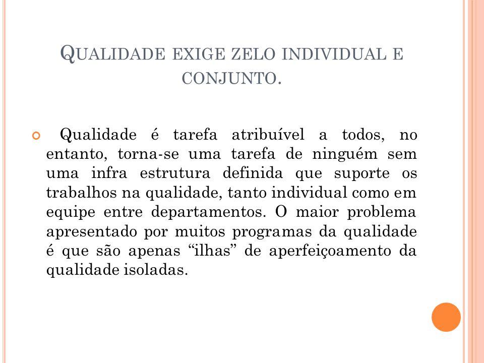Qualidade exige zelo individual e conjunto.