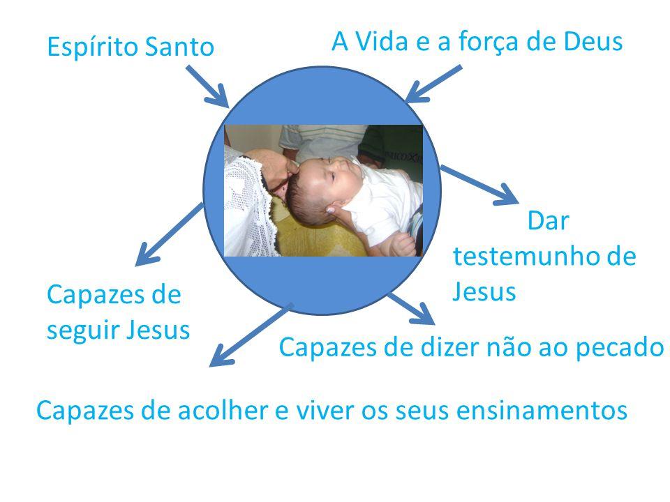 A Vida e a força de Deus Espírito Santo. Dar testemunho de Jesus. Capazes de seguir Jesus. Capazes de dizer não ao pecado.