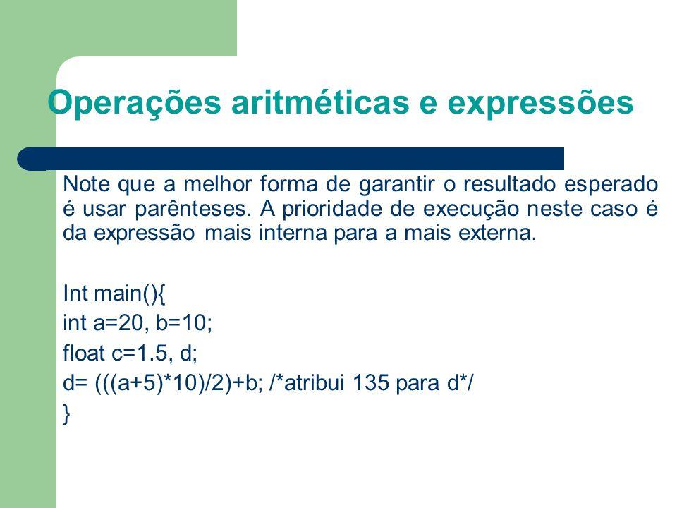 Operações aritméticas e expressões