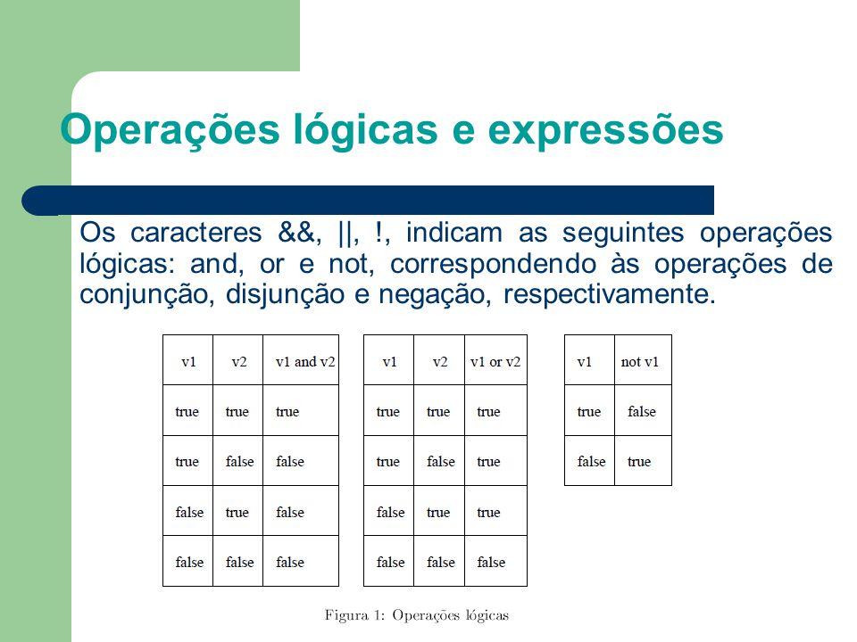 Operações lógicas e expressões