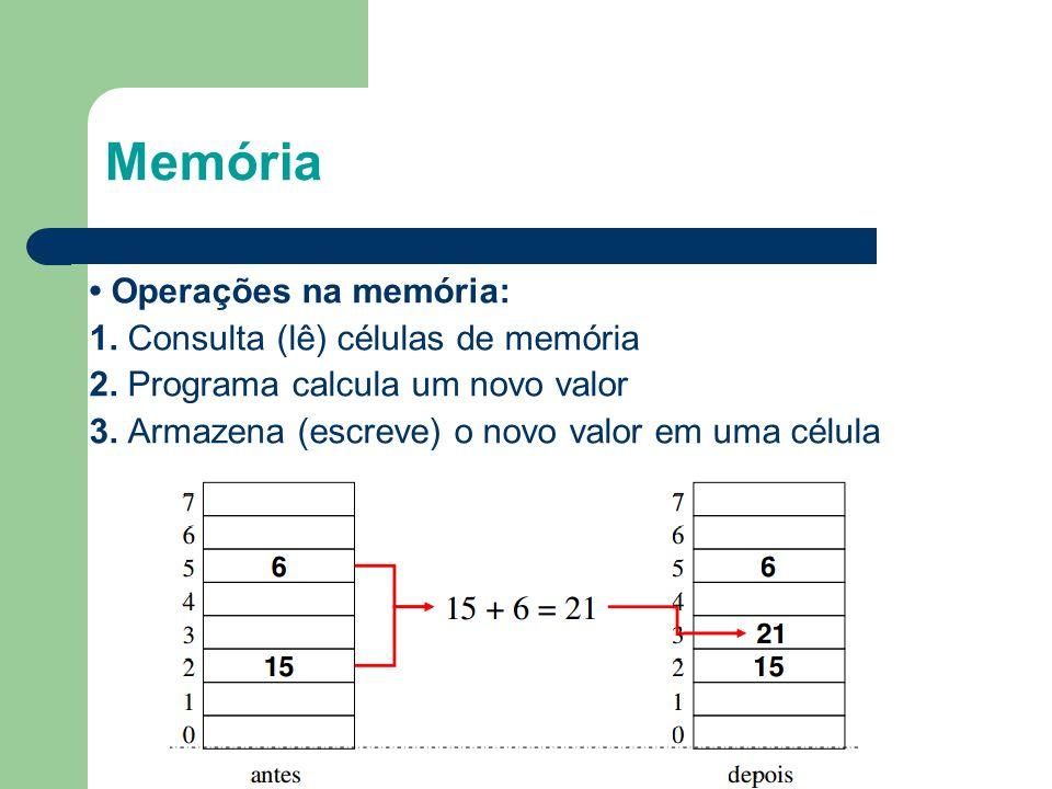 Memória 9 • Operações na memória: 1. Consulta (lê) células de memória