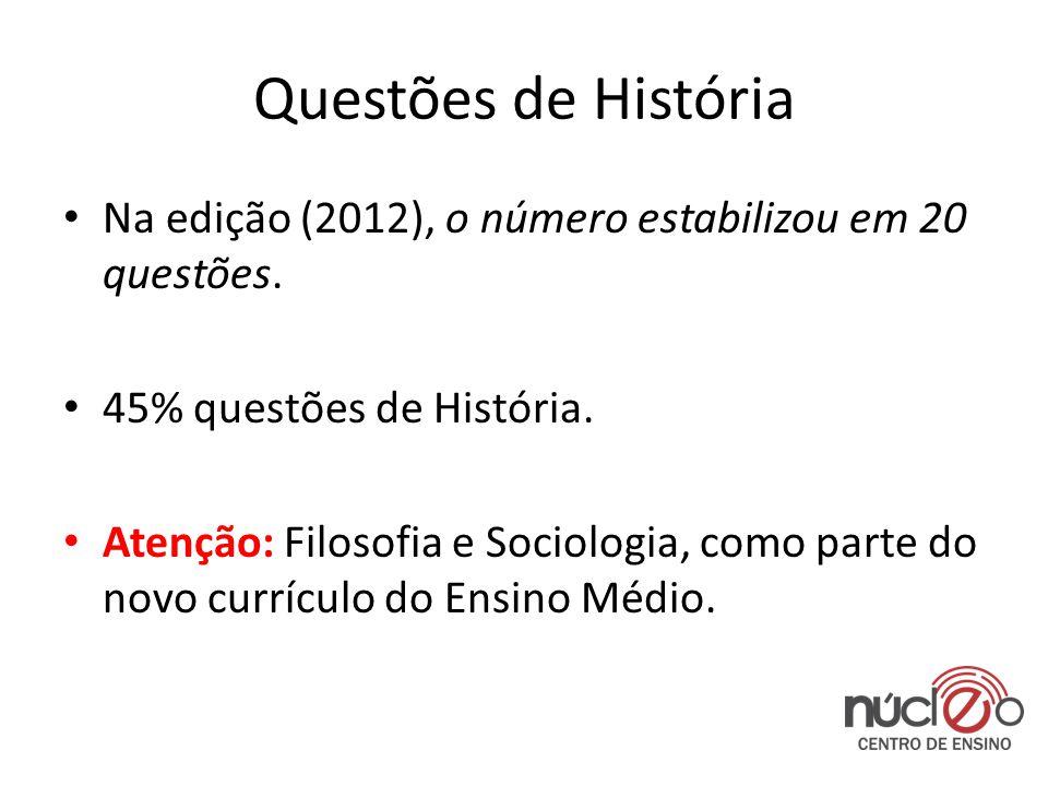Questões de História Na edição (2012), o número estabilizou em 20 questões. 45% questões de História.