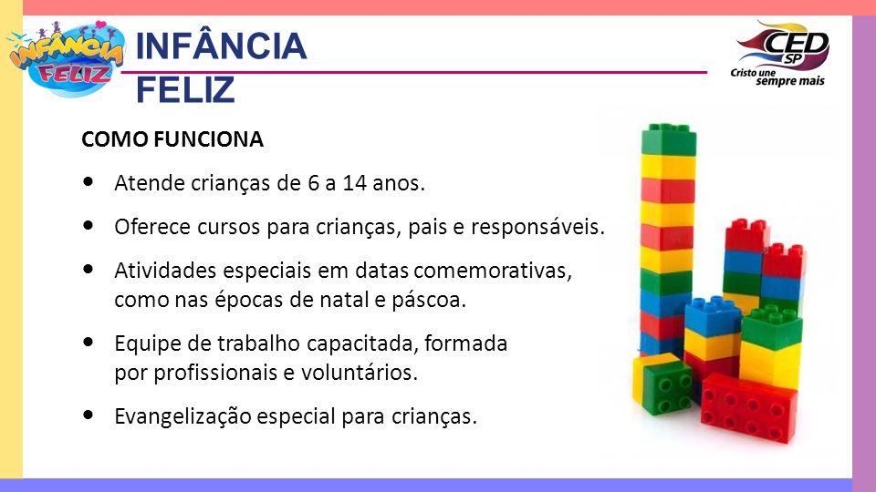 INFÂNCIA FELIZ COMO FUNCIONA Atende crianças de 6 a 14 anos.