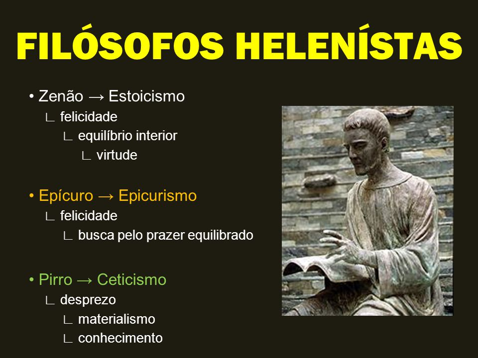 FILÓSOFOS HELENÍSTAS • Zenão → Estoicismo • Epícuro → Epicurismo