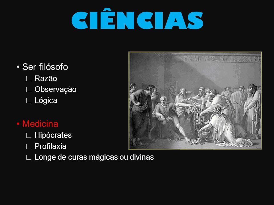 CIÊNCIAS • Ser filósofo • Medicina ∟ Razão ∟ Observação ∟ Lógica