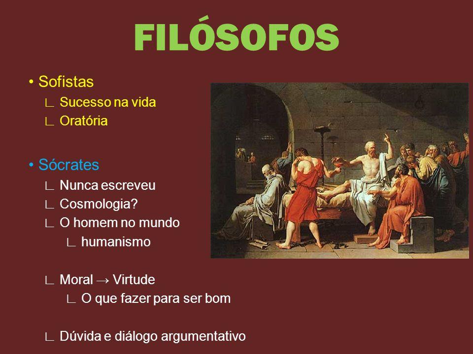 FILÓSOFOS • Sofistas • Sócrates ∟ Sucesso na vida ∟ Oratória