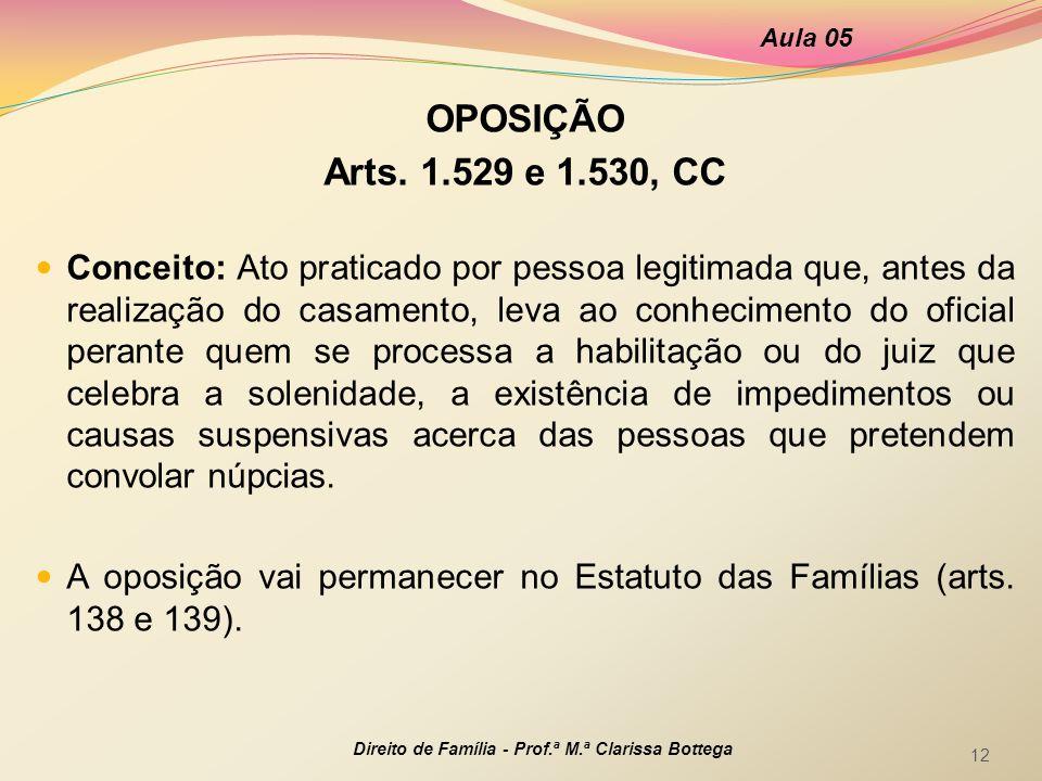 Aula 05 OPOSIÇÃO. Arts. 1.529 e 1.530, CC.