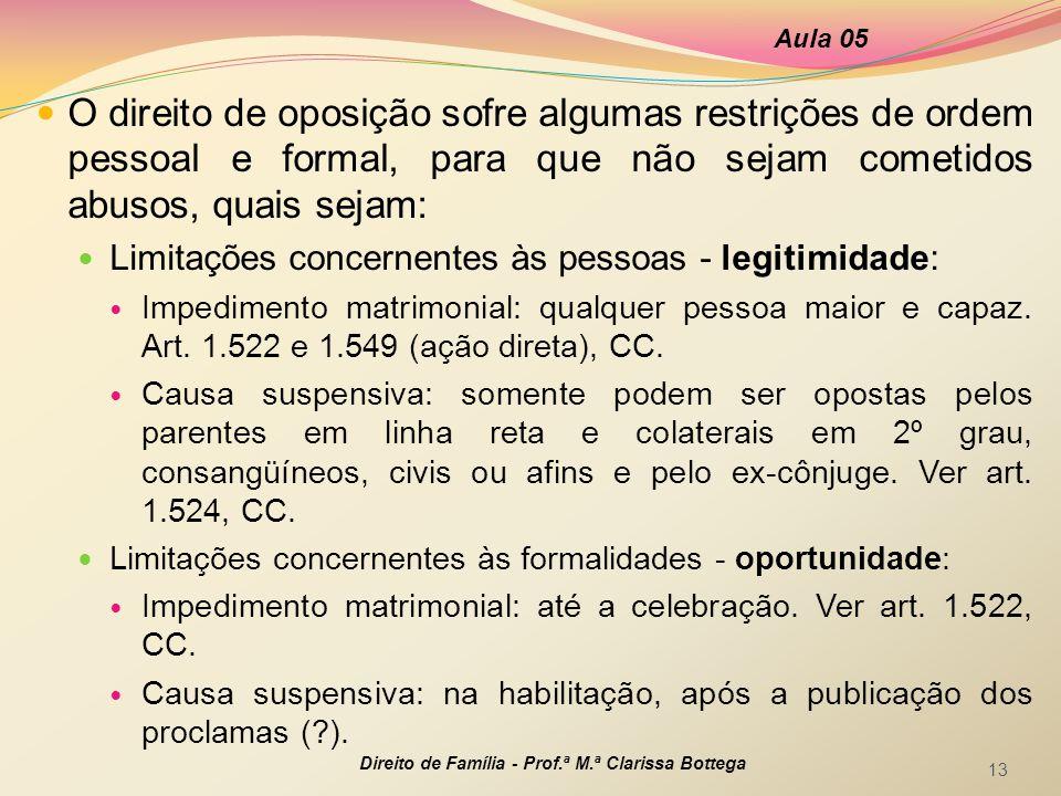 Aula 05 O direito de oposição sofre algumas restrições de ordem pessoal e formal, para que não sejam cometidos abusos, quais sejam: