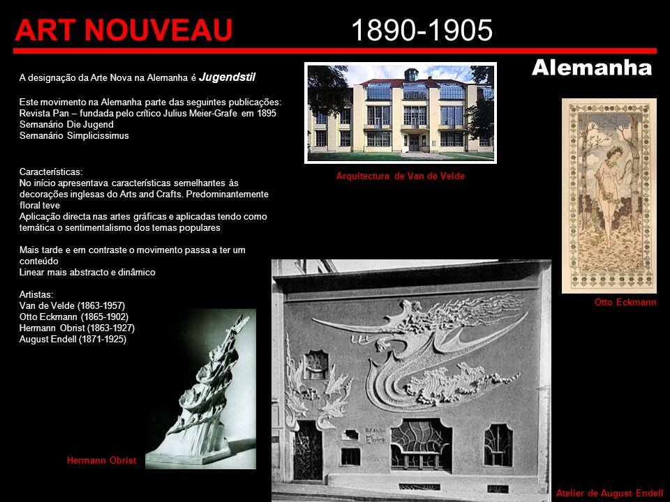 ART NOUVEAU 1890-1905 Alemanha. A designação da Arte Nova na Alemanha é Jugendstil. Este movimento na Alemanha parte das seguintes publicações: