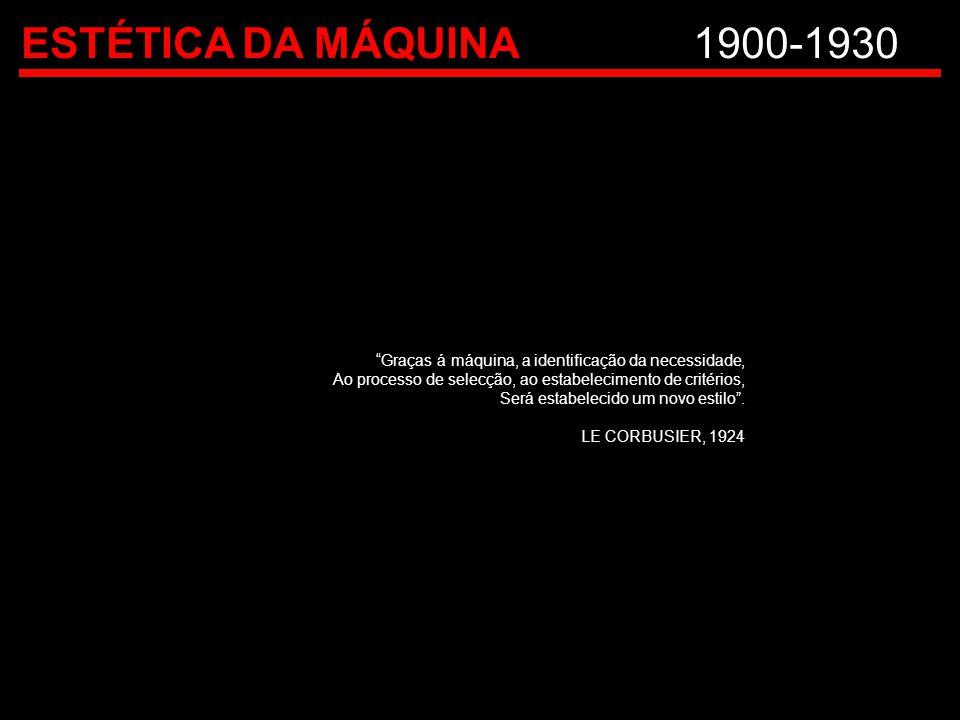 ESTÉTICA DA MÁQUINA 1900-1930 Graças á máquina, a identificação da necessidade, Ao processo de selecção, ao estabelecimento de critérios,