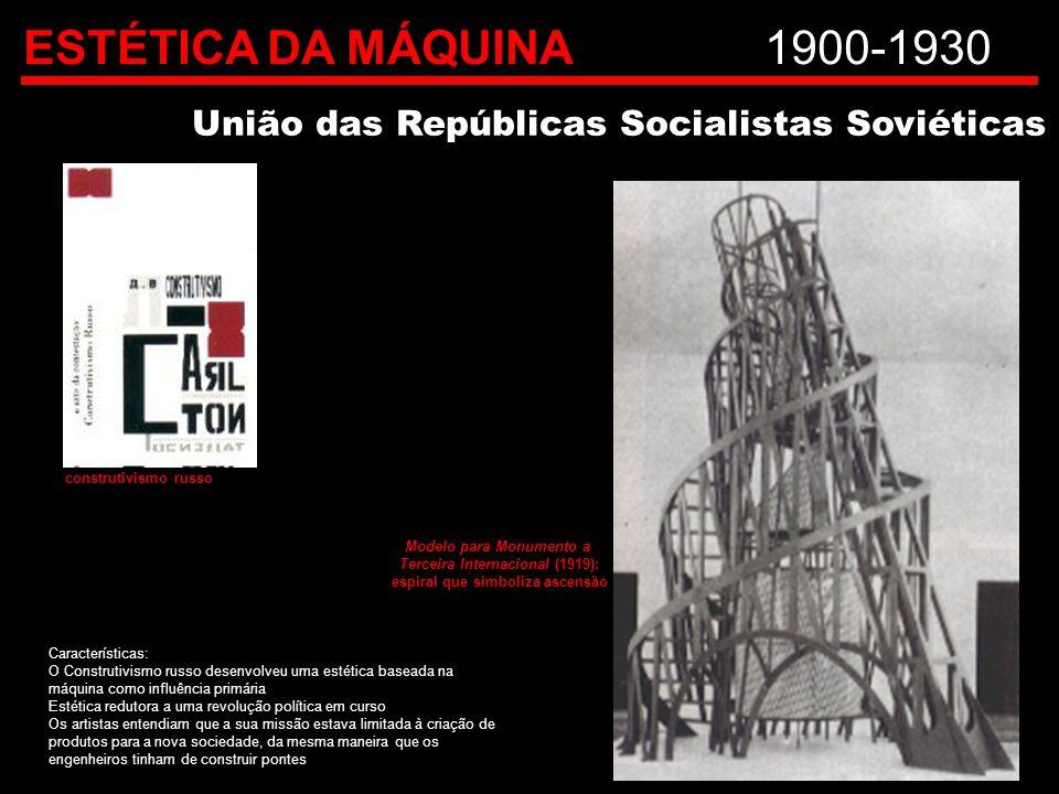ESTÉTICA DA MÁQUINA 1900-1930 União das Repúblicas Socialistas Soviéticas. construtivismo russo. Modelo para Monumento a