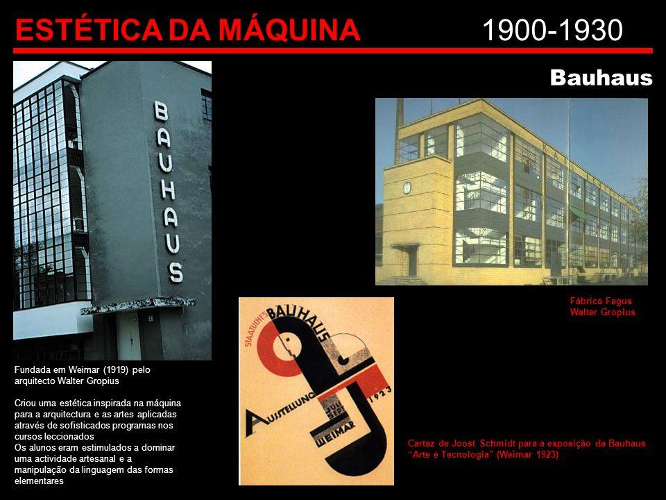 ESTÉTICA DA MÁQUINA 1900-1930 Bauhaus Fábrica Fagus Walter Gropius