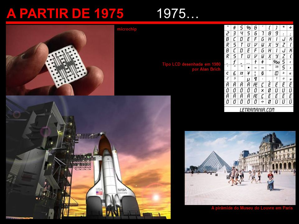 A PARTIR DE 1975 1975… microchip Tipo LCD desenhada em 1980