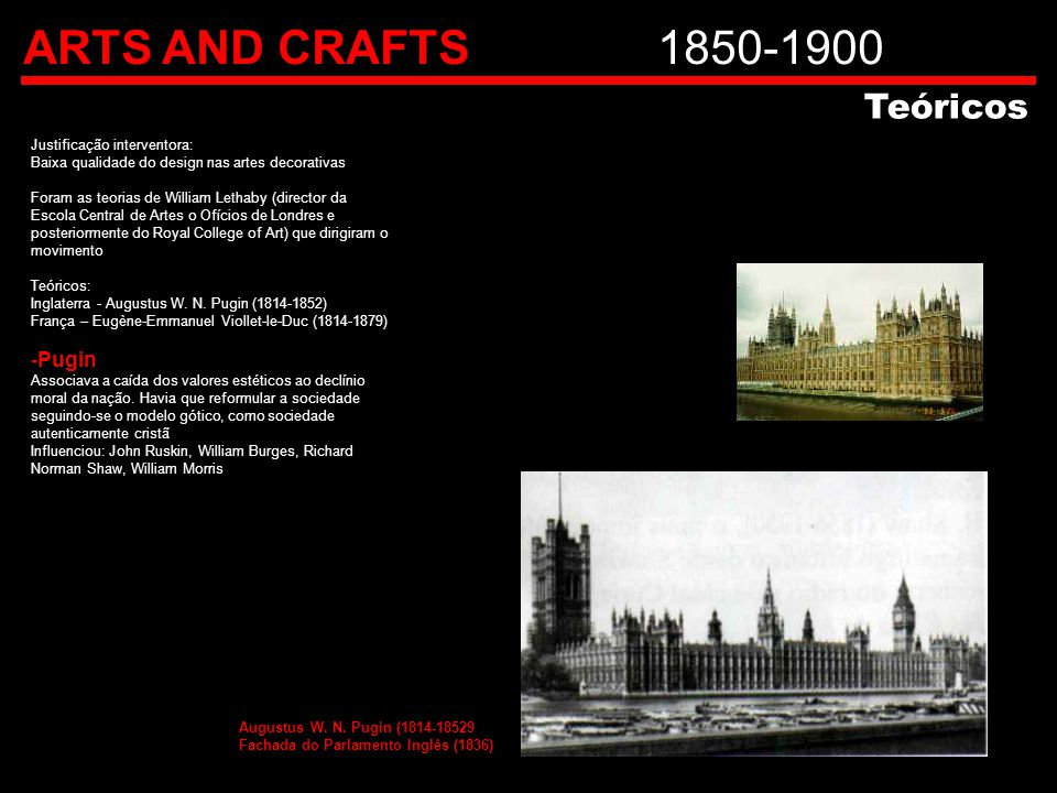 ARTS AND CRAFTS 1850-1900 Teóricos Pugin Justificação interventora: