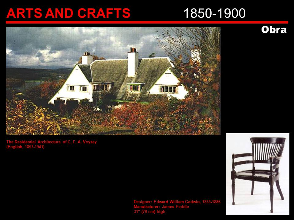 ARTS AND CRAFTS 1850-1900 Obra. The Residential Architecture of C. F. A. Voysey. (English, 1857-1941)