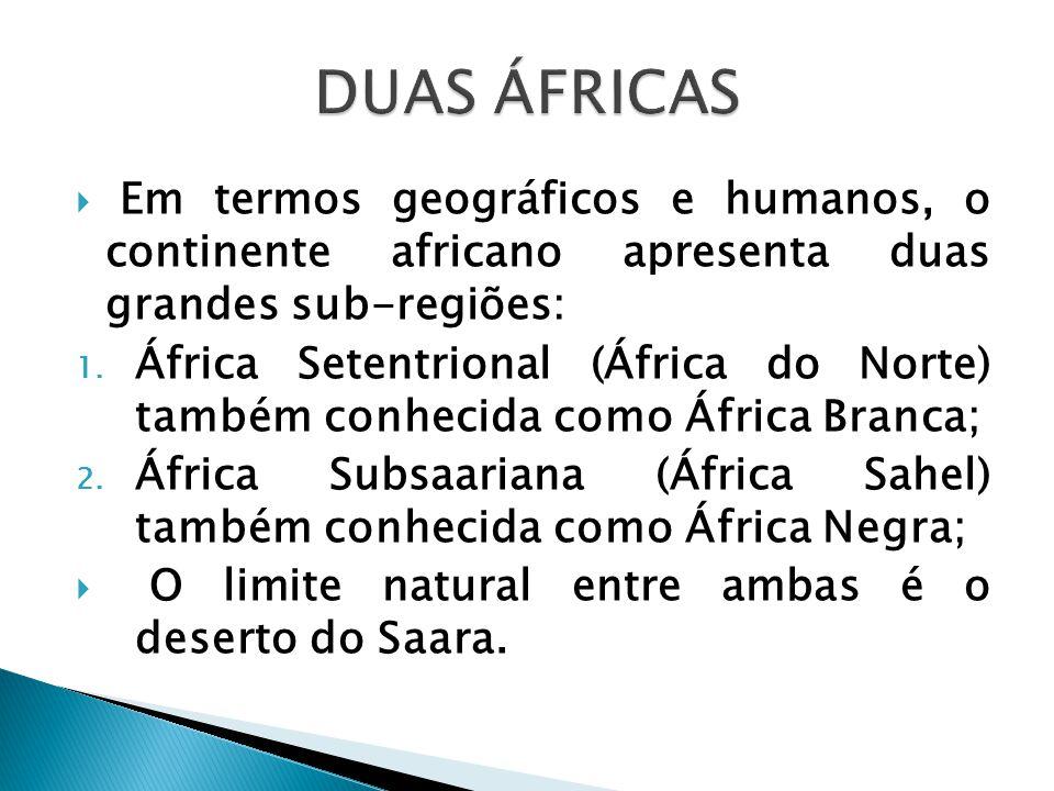 Duas Áfricas Em termos geográficos e humanos, o continente africano apresenta duas grandes sub-regiões: