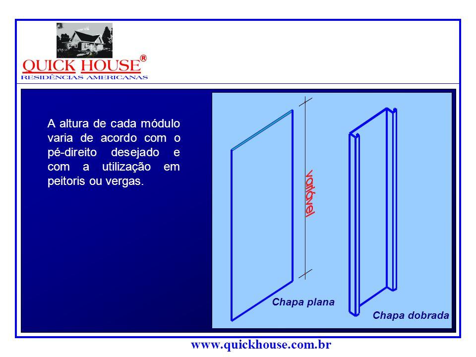 Chapa plana. Chapa dobrada. A altura de cada módulo varia de acordo com o pé-direito desejado e com a utilização em peitoris ou vergas.