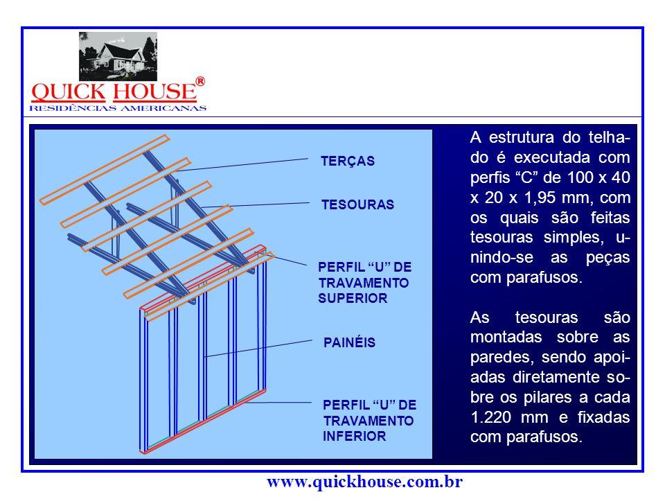 A estrutura do telha- do é executada com perfis C de 100 x 40 x 20 x 1,95 mm, com os quais são feitas tesouras simples, u- nindo-se as peças com parafusos.