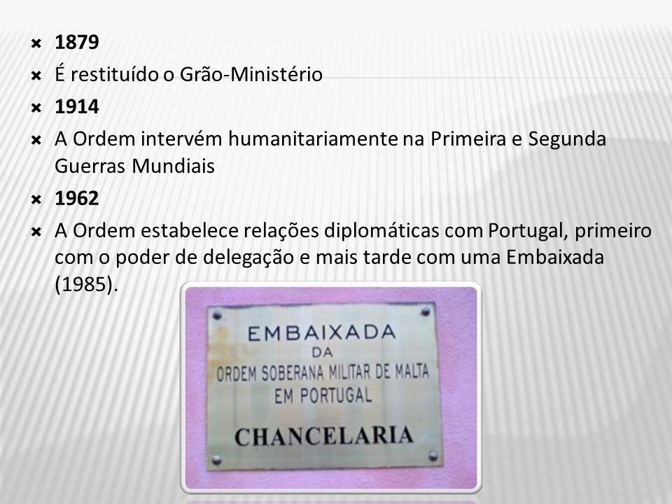 1879 É restituído o Grão-Ministério. 1914. A Ordem intervém humanitariamente na Primeira e Segunda Guerras Mundiais.