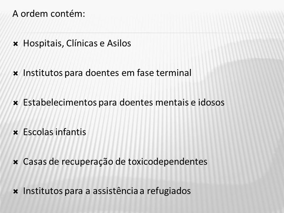 A ordem contém: Hospitais, Clínicas e Asilos. Institutos para doentes em fase terminal. Estabelecimentos para doentes mentais e idosos.