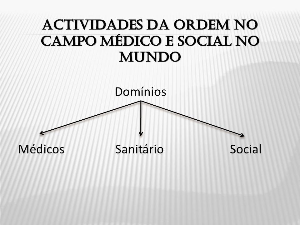 Actividades da ordem no campo médico e social no mundo