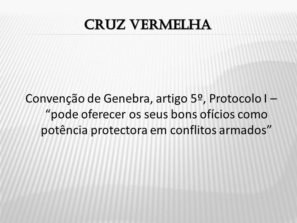 Cruz vermelha Convenção de Genebra, artigo 5º, Protocolo I – pode oferecer os seus bons ofícios como potência protectora em conflitos armados