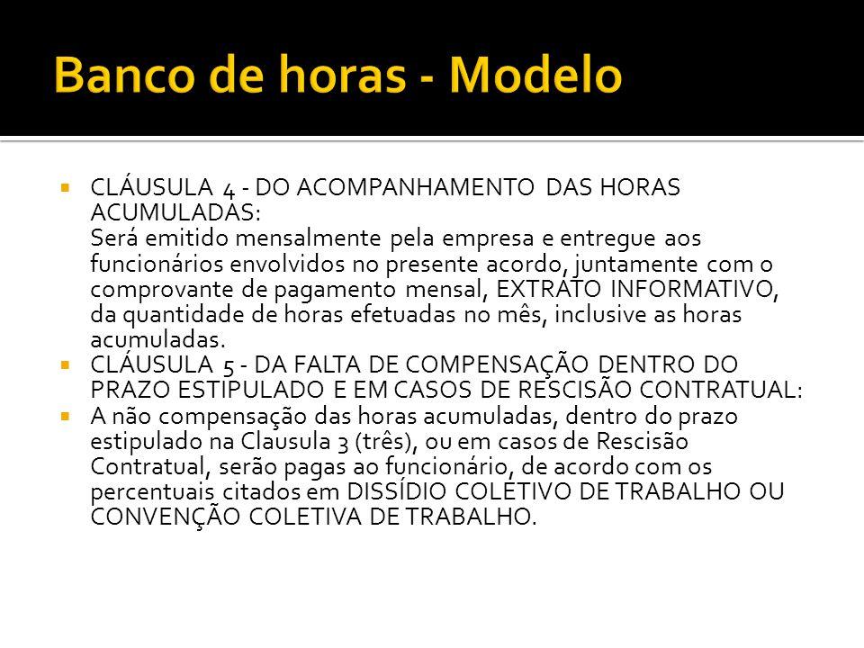 Banco de horas - Modelo