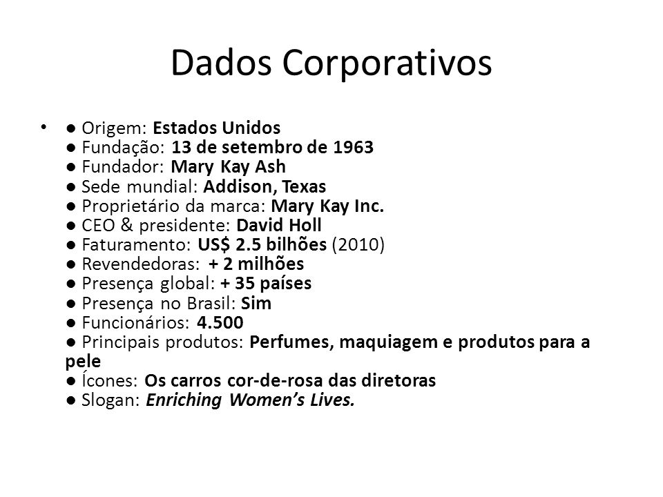 Dados Corporativos