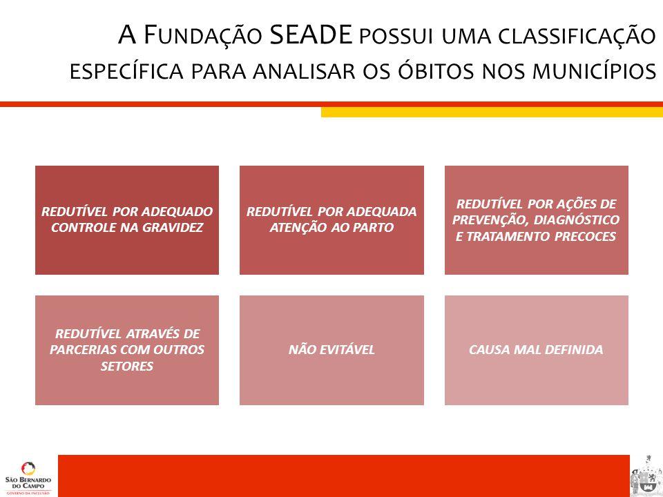 A Fundação SEADE possui uma classificação específica para analisar os óbitos nos municípios