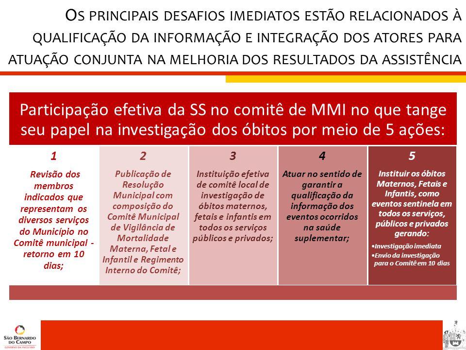 Os principais desafios imediatos estão relacionados à qualificação da informação e integração dos atores para atuação conjunta na melhoria dos resultados da assistência