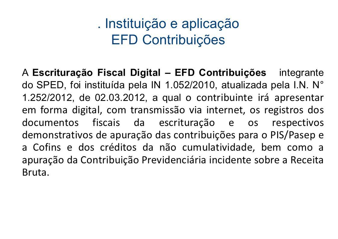 . Instituição e aplicação EFD Contribuições