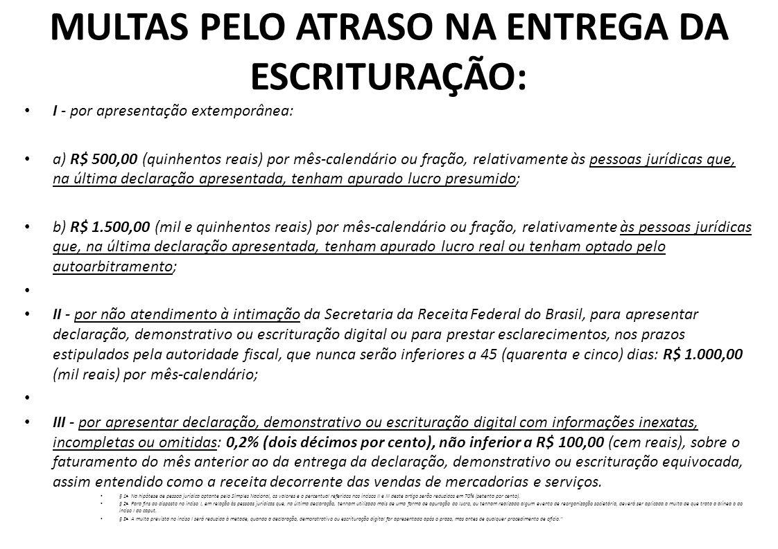 EFD Contribuições MULTAS PELO ATRASO NA ENTREGA DA ESCRITURAÇÃO: