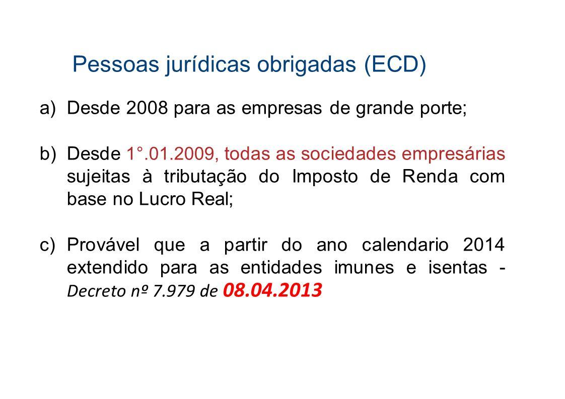 Pessoas jurídicas obrigadas (ECD)