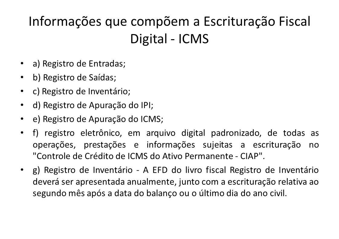 Informações que compõem a Escrituração Fiscal Digital - ICMS