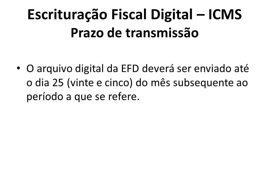 Escrituração Fiscal Digital – ICMS Prazo de transmissão
