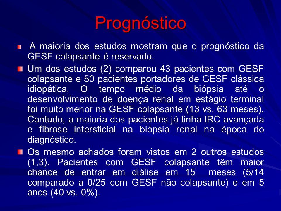 Prognóstico A maioria dos estudos mostram que o prognóstico da GESF colapsante é reservado.