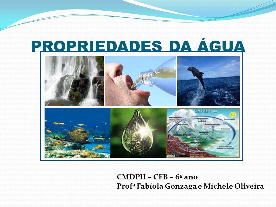 PROPRIEDADES DA ÁGUA CMDPII – CFB – 6º ano