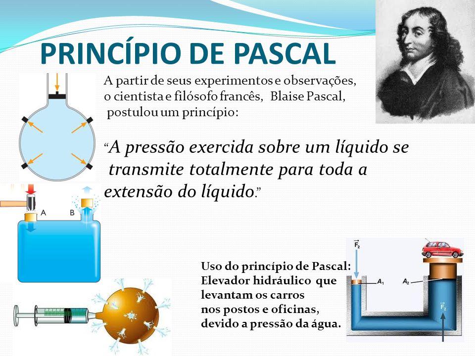 PRINCÍPIO DE PASCAL transmite totalmente para toda a