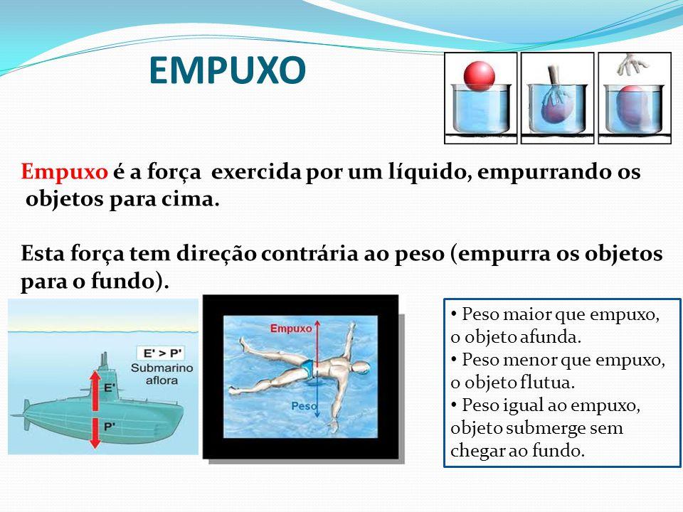 EMPUXO Empuxo é a força exercida por um líquido, empurrando os