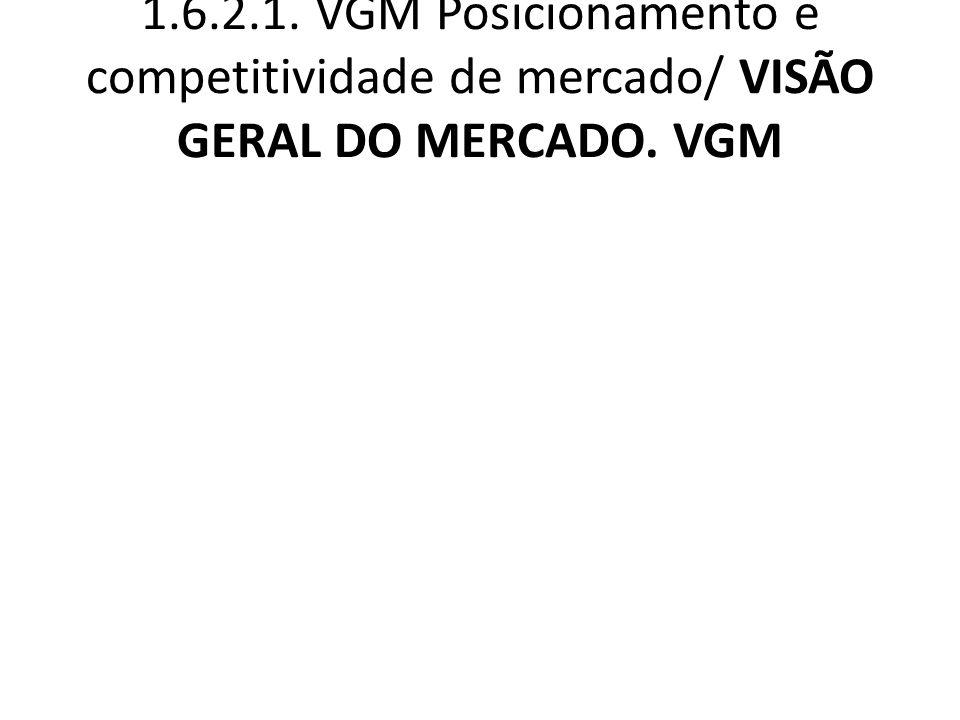 1.6.2.1. VGM Posicionamento e competitividade de mercado/ VISÃO GERAL DO MERCADO. VGM