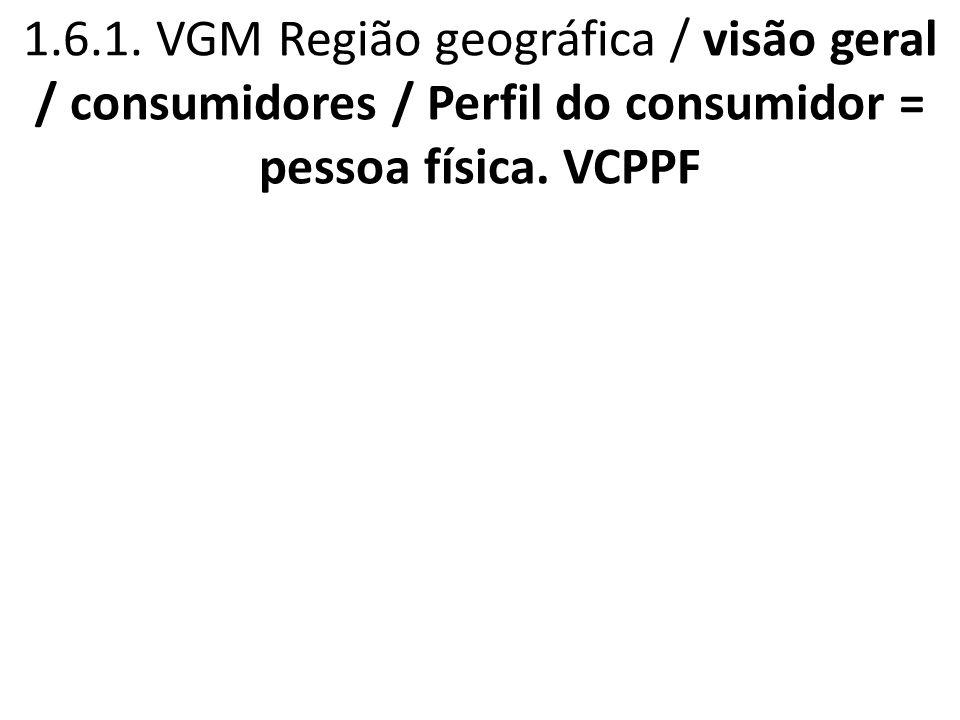 1.6.1. VGM Região geográfica / visão geral / consumidores / Perfil do consumidor = pessoa física.