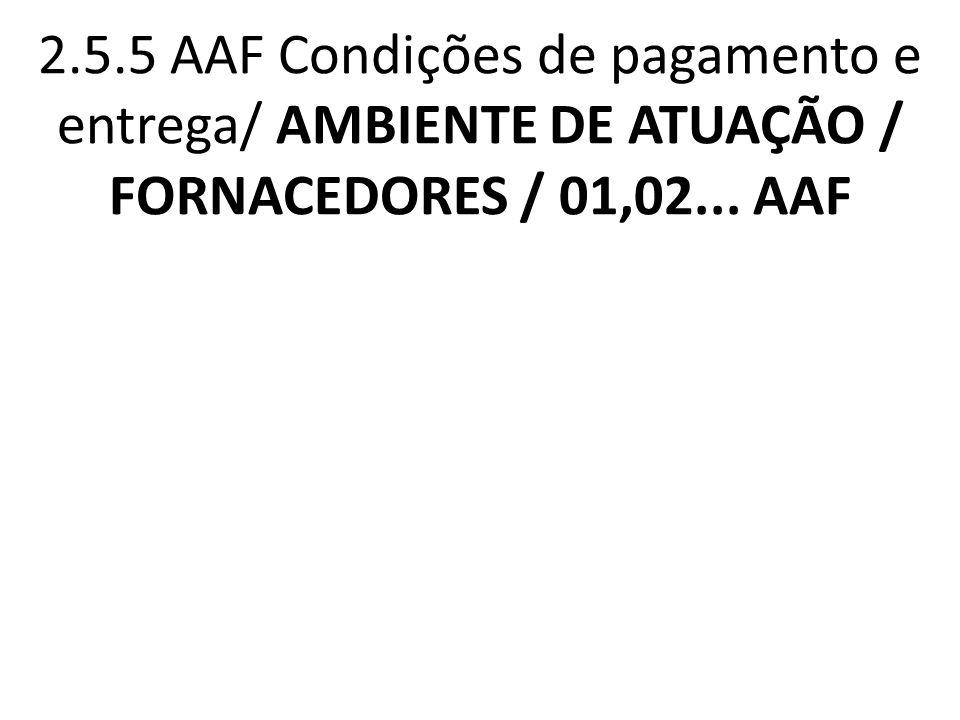2.5.5 AAF Condições de pagamento e entrega/ AMBIENTE DE ATUAÇÃO / FORNACEDORES / 01,02... AAF