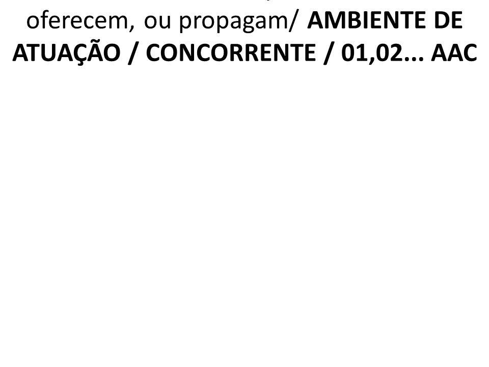2.6.4 AAC Diferenciais que os concorrentes oferecem, ou propagam/ AMBIENTE DE ATUAÇÃO / CONCORRENTE / 01,02...