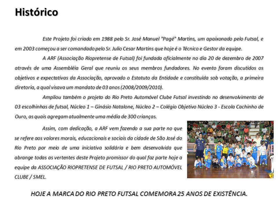 HOJE A MARCA DO RIO PRETO FUTSAL COMEMORA 25 ANOS DE EXISTÊNCIA.