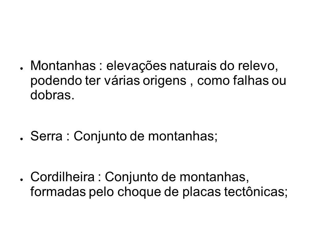 Montanhas : elevações naturais do relevo, podendo ter várias origens , como falhas ou dobras.