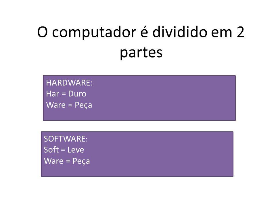 O computador é dividido em 2 partes