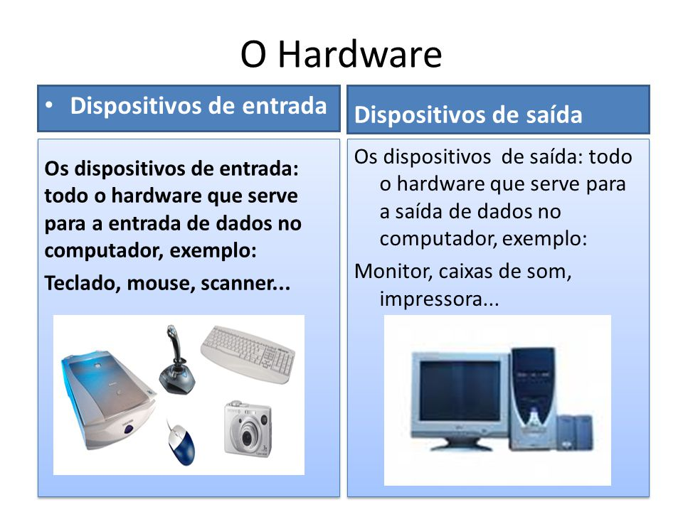 O Hardware Dispositivos de entrada Dispositivos de saída