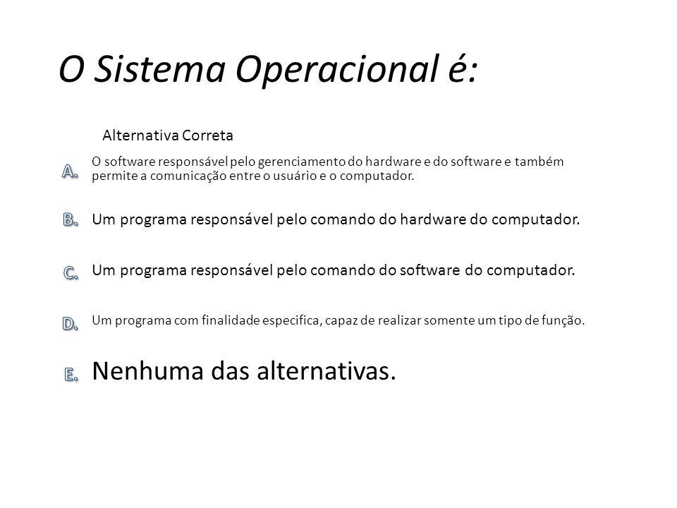 O Sistema Operacional é: