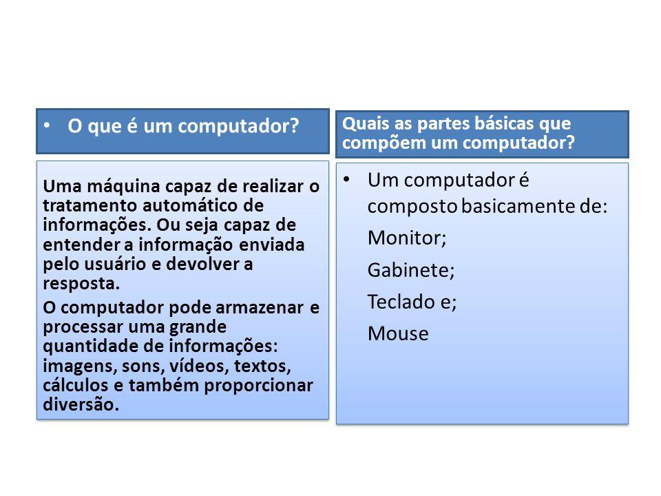 Um computador é composto basicamente de: Monitor; Gabinete; Teclado e;